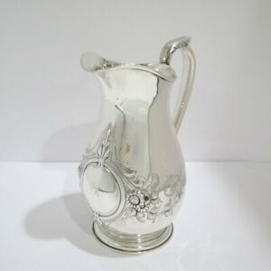 9 3 8 In Coin Silver Schulz Fischer S F Cal Antique Floral Water Pitcher