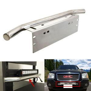 Cool Car Bullbar Working Light Holder Front Bumper License Plate Mount Bracket