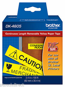 Brother Dk4605 Removable Yellow Continuous For Ql700 Ql 700 Label Printers