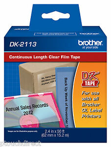 Brother Dk2113 2 3 7 Continuous Clear Labels For Ql570 Ql 570 Label Printers