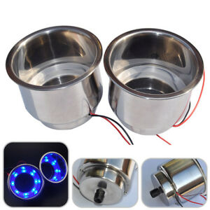 2x Blue 8led Light Recessed Stainless Steel Cup Drink Holder For Car Marine Boat