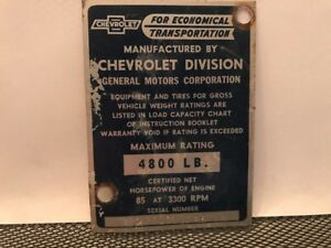 53 1953 Chevy 3100 1 2 Ton Pickup Truck Cowl Data Body Plate Trim Code Tag