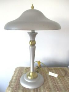 Vintage Silver Color Tole Brass Retro Mid Century Atomic Desk Table Lamp