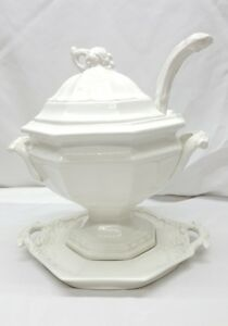 Red Cliff White Ironstone Large Grape Soup Tureen Set Lid Ladle