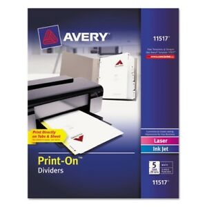 Avery 5 tab Print on Index Dividers 11517