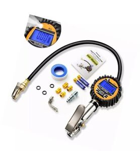 Digital Tire Inflator With Pressure Gauge 200 Psi Air Chuck And Compressor Acce