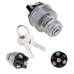 Silver Universal 3 Position Ignition Starter Key Switch For Car Tractor Trailer