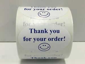 Labels And More 1 25 X 2 Oval Thank You For Your Order 500 Blue wh Stickers