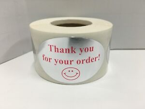 Labels And More 1 25 X 2 Oval Thank You For Your Order 500 Red silv Stickers