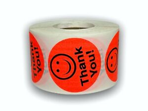 Labels And More 1 5 Circle Thank You Smiley Face 500 Bright Red Stickers