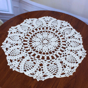 Lace Doily Crochet Runner Table Cloth Cup Mat Coaster Inch Round Cotton 16
