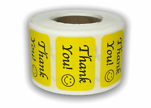 Labels And More 875 X 1 25 Thank You Smiley Face 500 Yellow Stickers