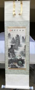 Chinese Scroll Painting With Mountain Boat And House Signed By Artist