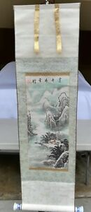 Chinese Scroll Painting Winter View With Mountain And House Signed By Artist