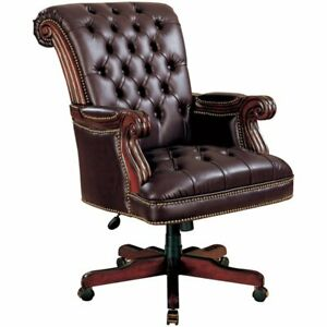 Bowery Hill Faux Leather Ergonomic Tufted Office Chair In Dark Brown