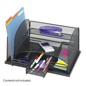 3252bl Safco Office Furniture Wire Mesh Steel Onyx Organizer With 3 Drawers