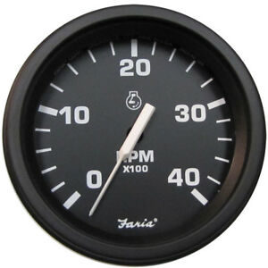 Faria Heavy Duty Black 4 Quot Tachometer W Hourmeter 4000 Rpm Diesel Mag P