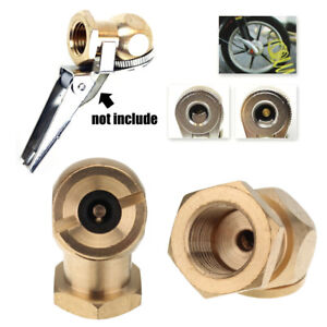 1pc 1 4 Npt Tyre Inflator Valve Connector Air Chuck Ball Tire Clip Lock On Gold