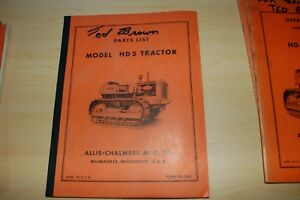 Allis chalmers Hd5 Tractor Dozer Crawler Parts Manual Book Catalog List Spare Ac