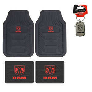 Dodge Ram Head Car Truck Front Back All Weather Heavy Duty Rubber Floor Mats