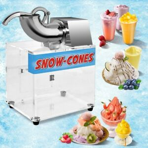 Electric Snow Cone Machine Ice Shaver Maker Shaving Crusher Dual Blades 200w Us