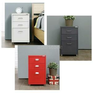 Metal Drawer Filing Cabinet Detachable Mobile File Cabinets W 3 Drawers Us D9s9