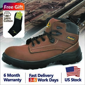 Safetoe Safety Boots Mens Work Shoes Steel Toe Brown Water Resistant Us Stock