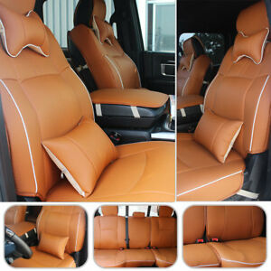 Car Seat Cover Front rear Cushion For Dodge Ram 1500 2500 3500 2009 2018 Brown