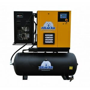Polar Air Industrial 20hp 3 Phase 120 Gallon Variable Speed Drive Swingarm