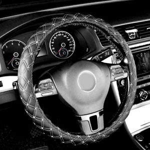 1pc Car Steering Wheel Cover Faux Leather Fit Universal 14 15 Black White
