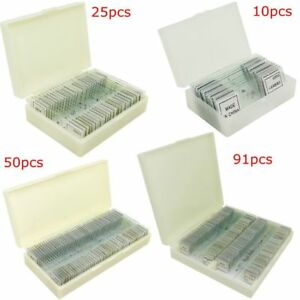 10 200pcs Glass Prepared Microscope Slides Specimen Set W Plastic Storage Box