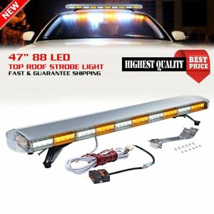 Amber White 47 88 Led Strobe Flash Emergency Hazard Beacon Light Bar Truck Rv