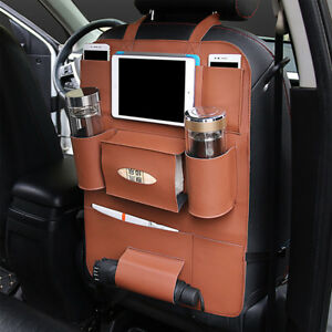 Car Seat Back Bag Organizer Storage Ipad Phone Holder Multi Pocket Leather Bag