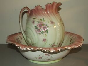 Antique Victorian Porcelain Water Pitcher Basin Set M C Co Matthews Clark