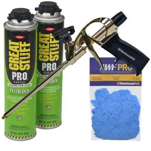 Dow Great Stuff Pro Pestblock Foam Sealant Kit With Pro Foam Gun And Gloves