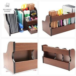 Pag Office Supplies Wood Desk Organizer Book Shelf Pen Holder Accessories Stroag