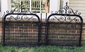 Pair Antique Vintage Iron Gates Black Rustic For Garden Or Interior Decor