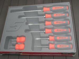 Snap On Orange Black Soft Grip Handle Screwdriver Set 8 Piece Shgdx80o New