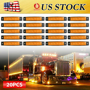 20pcs 3 8 Amber 6led Side Marker Indicators Light Truck Trailer Car Clearance
