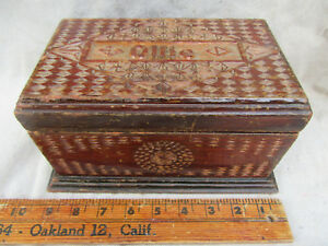 Chipped Carved Wooden Box Folk Art Home Made One Of A Kind Signed