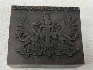 Vintage City Of London Crest Coat Of Arms Letter Press Printing Copper Wood