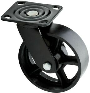 Liberty Plate Caster Wheel 6 Inch Industrial Swivel 1100 Lb Replacement Black