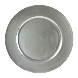Scranton Co Lacquer Round Charger Plate In Silver Set Of 6