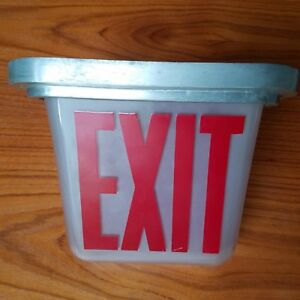 Vintage Kopp White Red Frosted Glass Exit Sign Triangular 2 sided Metal Frame