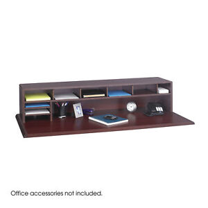 58 Inch W Mahogany Low Profile Adjustable Shelves Dividers Desk Top Organizer