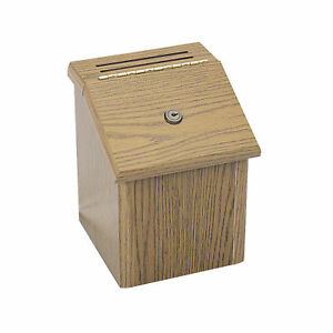 Oak Wood Locking Suggestion Box Includes 24 Suggestion Cards 2 Collection Keys