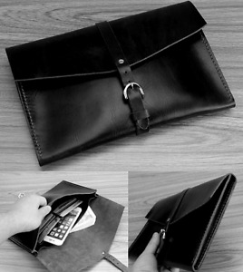 Cow Leather File Folder Pocket Messenger Bag Case Briefcase Handmade Black Z618