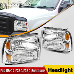 For 2005 2007 Ford F350 F450 F550 Super Duty Headlights Left Right 05 06 07 Pair