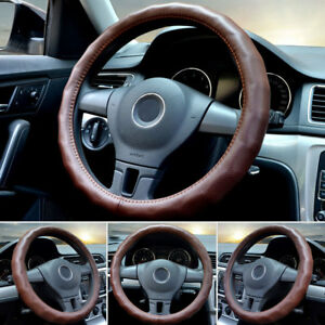 1pc 15 38cm Car Steering Wheel Cover Leather Durable Anti Slip Stylish Brown