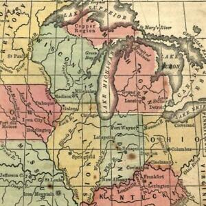 Mid West Great Lakes Mn Wi Mi 1855 Antique U S State Map Old Hand Color
